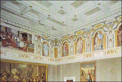 Restauro soffitto a cassettoni decorato rosa restauri